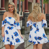 Floral Off the Shoulder Flounce Detail Mini Dress