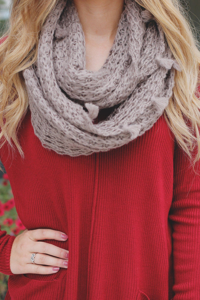 Taupe Open Knit Tassel Detail Infinity Scarf