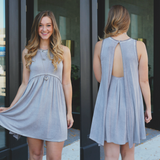 Dove Grey Mineral Wash Keyhole Flyaway Babydoll Dress
