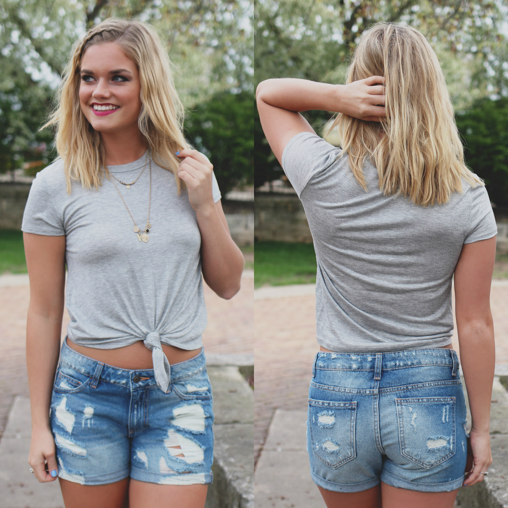 Heather Grey Crewneck Short Sleeve Tie Front Knit Top