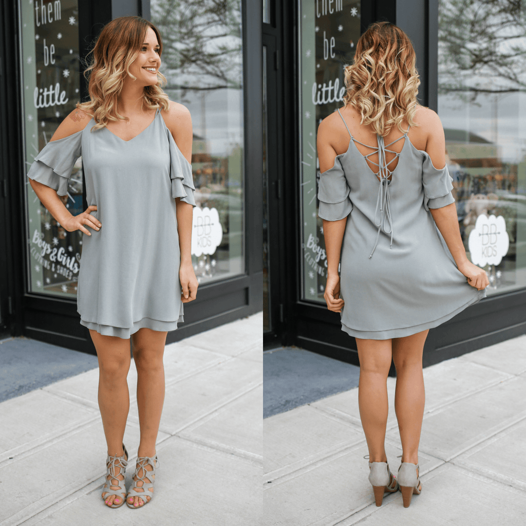 Cold Shoulder Ruffle Cut Out Lace Up Halter Neck Dress