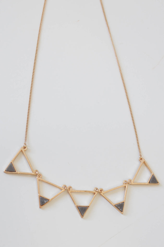 Triangle Faux Stone Necklace - Online Clothing Boutique