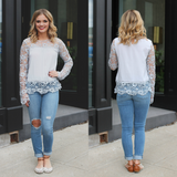 Long Lace Sleeves Round Neck Keyhole Back Top