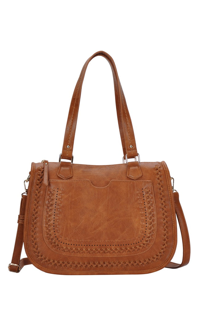 Distressed Faux Leather Adjustable Bag - Online Clothing Boutique