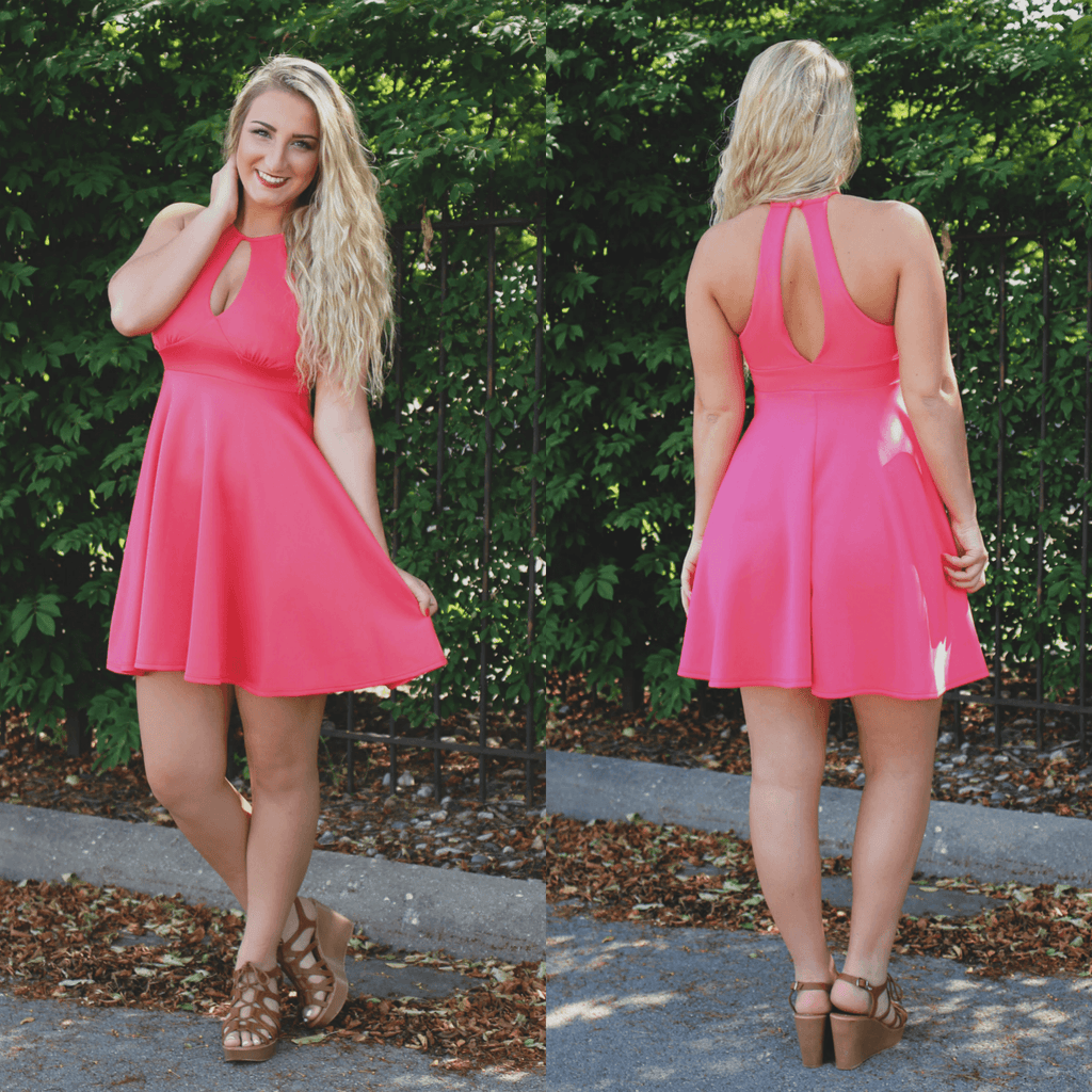 Sleeveless High Neck Keyhole Accents A-line Dress