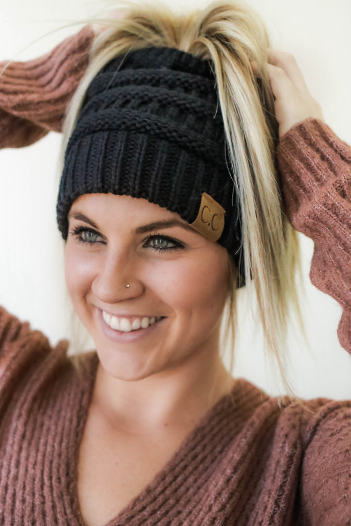 Messy Bun Beanie - Online Clothing Boutique