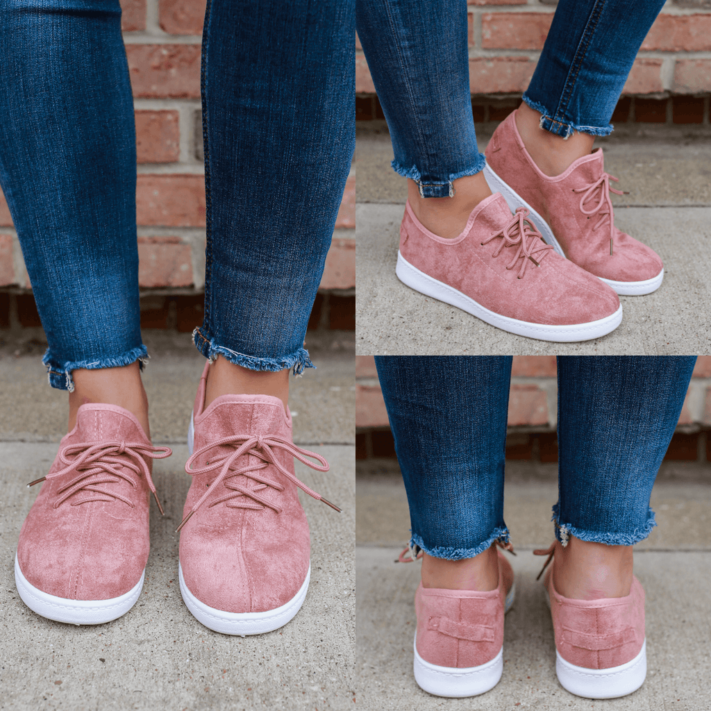 Dark Peach Faux Suede Lightweight Lace Up Sneakers buna-1