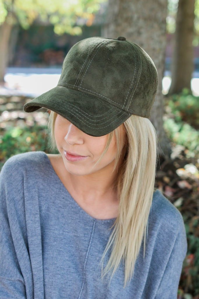 Faux Suede Baseball Cap - Online Clothing Boutique