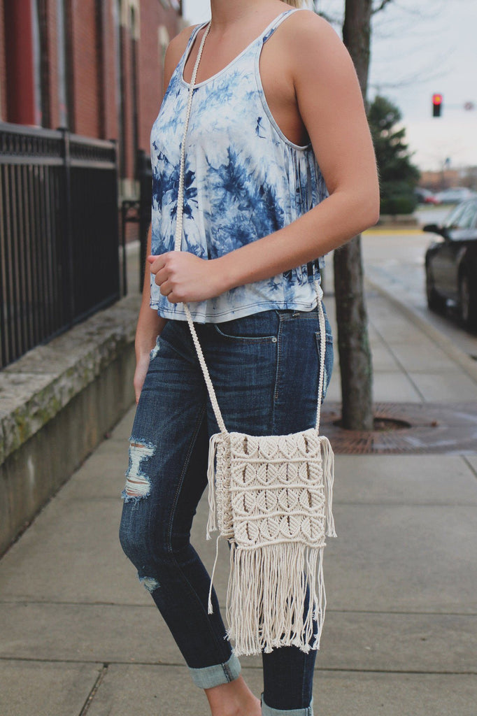 Ivory Macrame Flap Top Fringe Detail Mini Crossbody