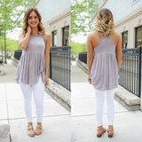 Sleeveless Round Neck Pom Trim Twist Hem Accent Top