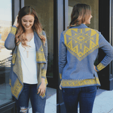 Print Long Sleeve Open Front Knit Cardigan