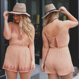 Cami Strap Elastic Waist Embroidered Romper