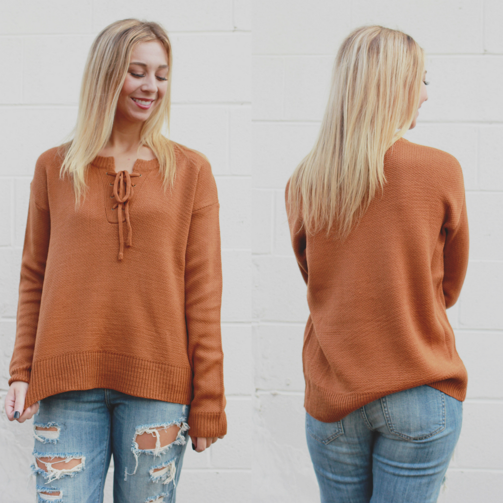 Long Sleeve Lace Up Front Sweater