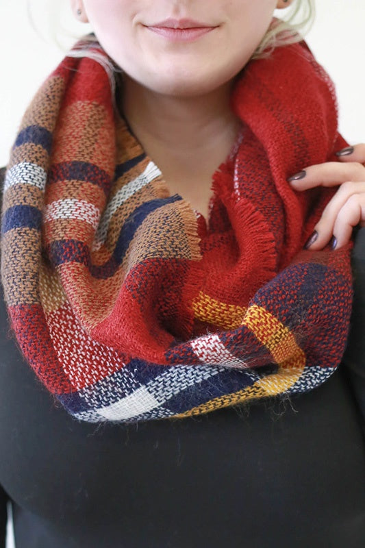 Woven Plaid Infinity Scarf - Online Clothing Boutique