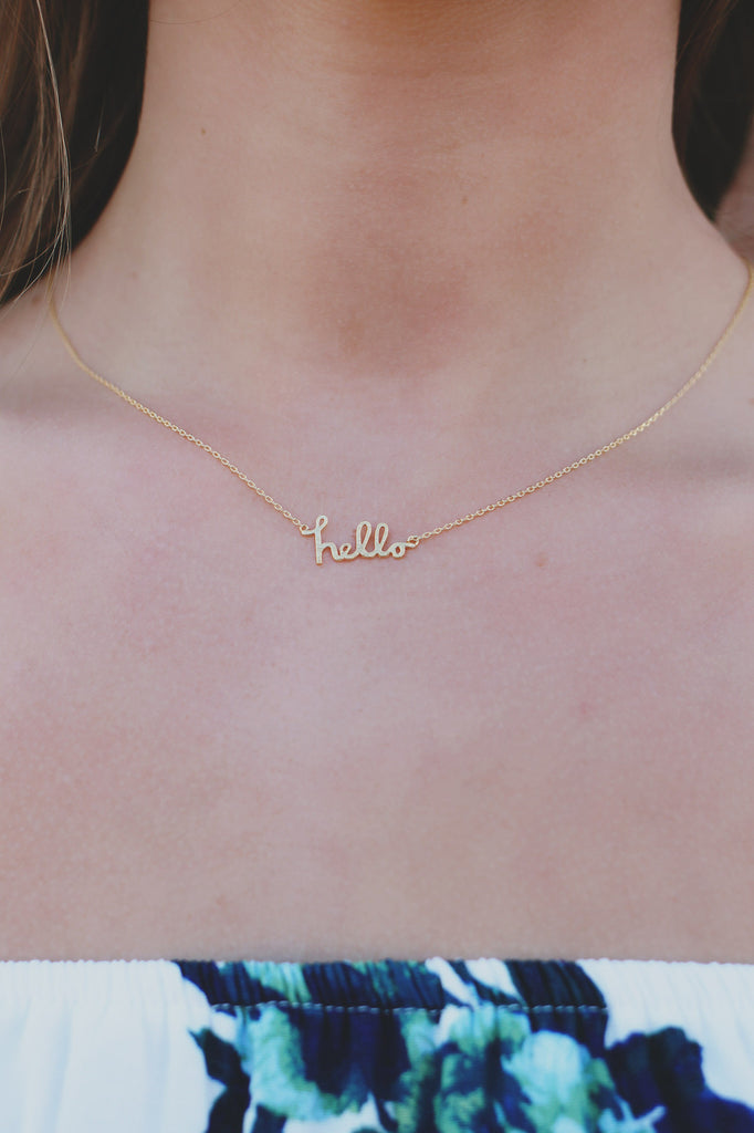 Gold Hello Charm Dainty Necklace