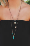 Gold Turquoise Charm Layered Necklace