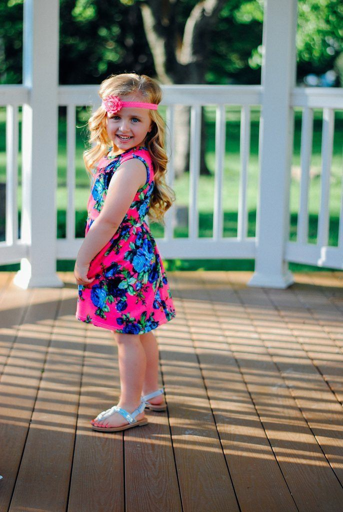 Kids Fuchsia Fit and Flare Floral Dress
