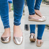 Dana-08A Rose Gold Metallic Flats - Online Clothing Boutique