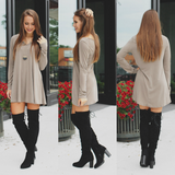 Long Sleeve Heathered Knit Swing Tunic