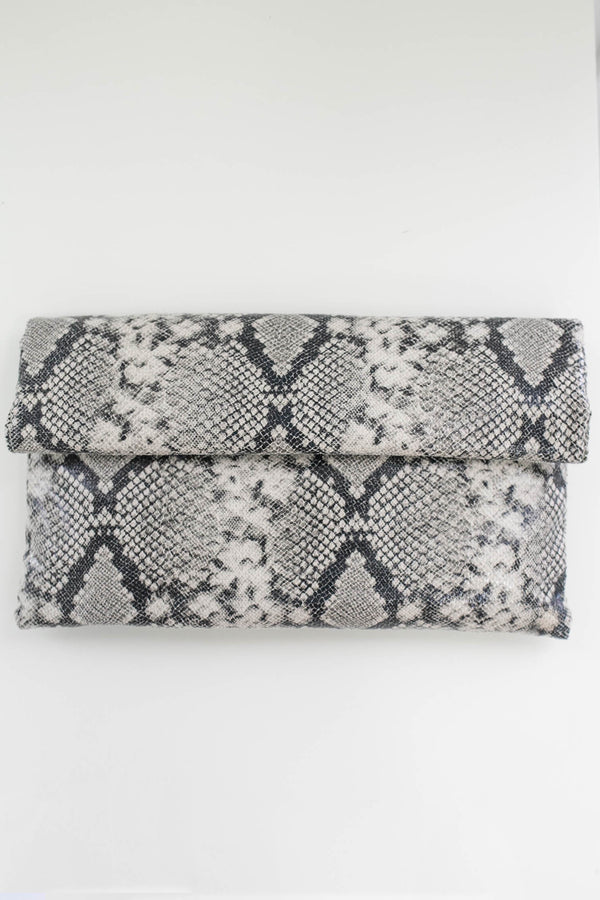 Snakeskin Convertible Clutch - Online Clothing Boutique