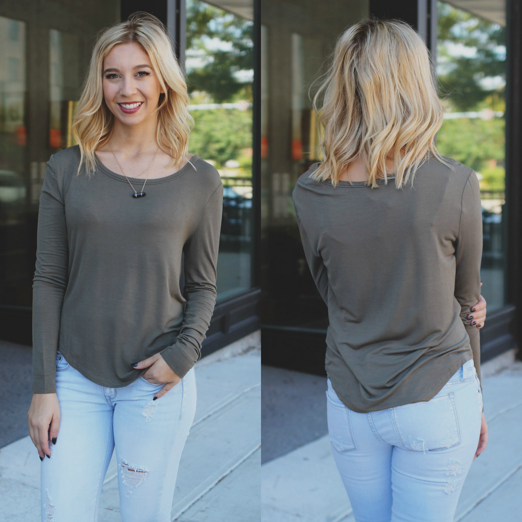 Olive Long Sleeve Round Hem Round Neck Top