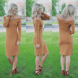 Mustard Long Sleeve Off the Shoulder Bodycon Dress
