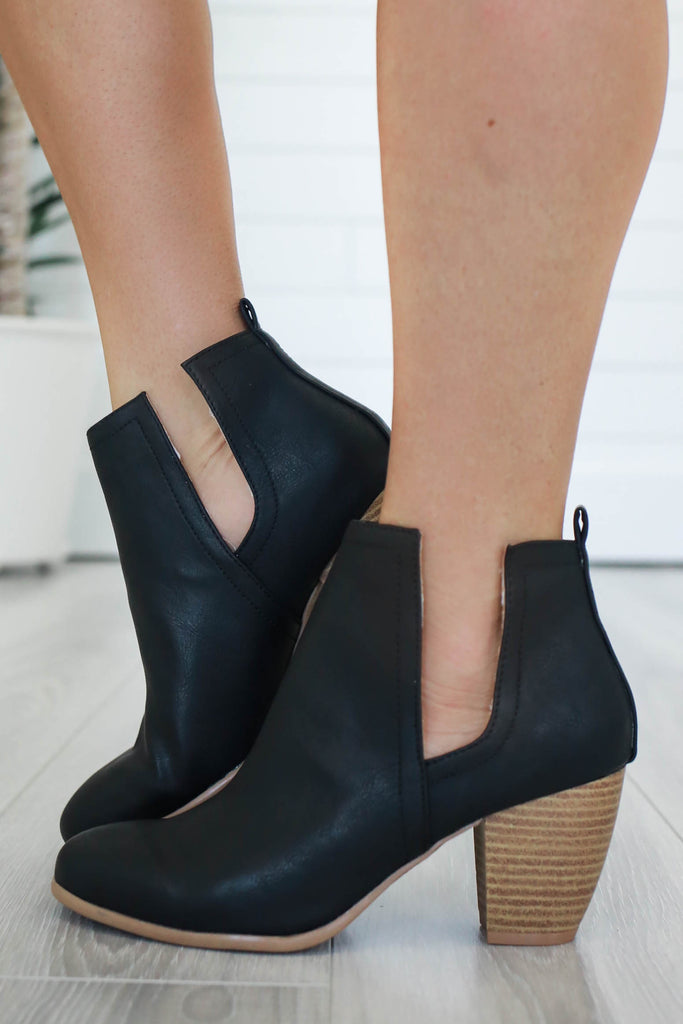 Zillion-08 Faux Leather Ankle Booties - Online Clothing Boutique
