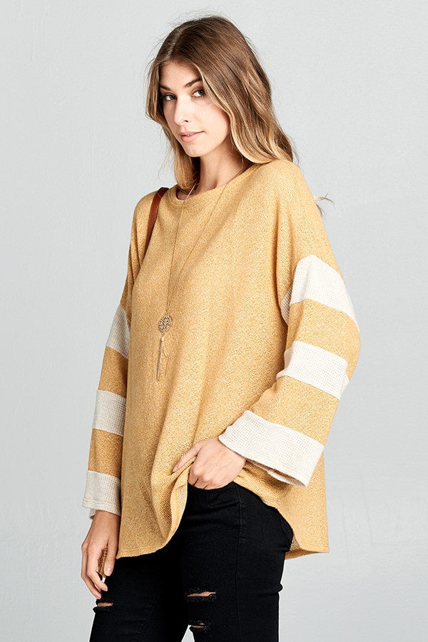 Long Sleeve Color Block Sleeve Top - Online Clothing Boutique