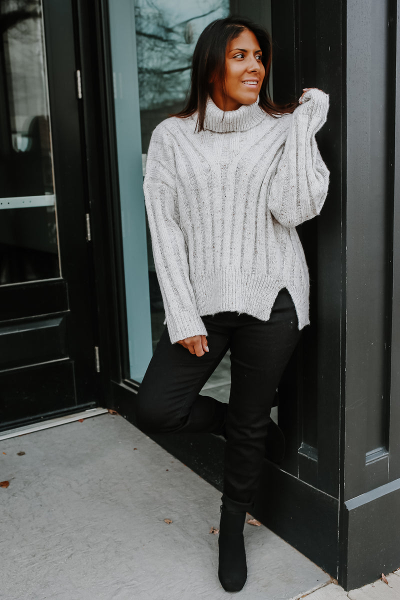 Turtle Neck Speckled Knit Sweater | Stylish & Affordable | UOI Online