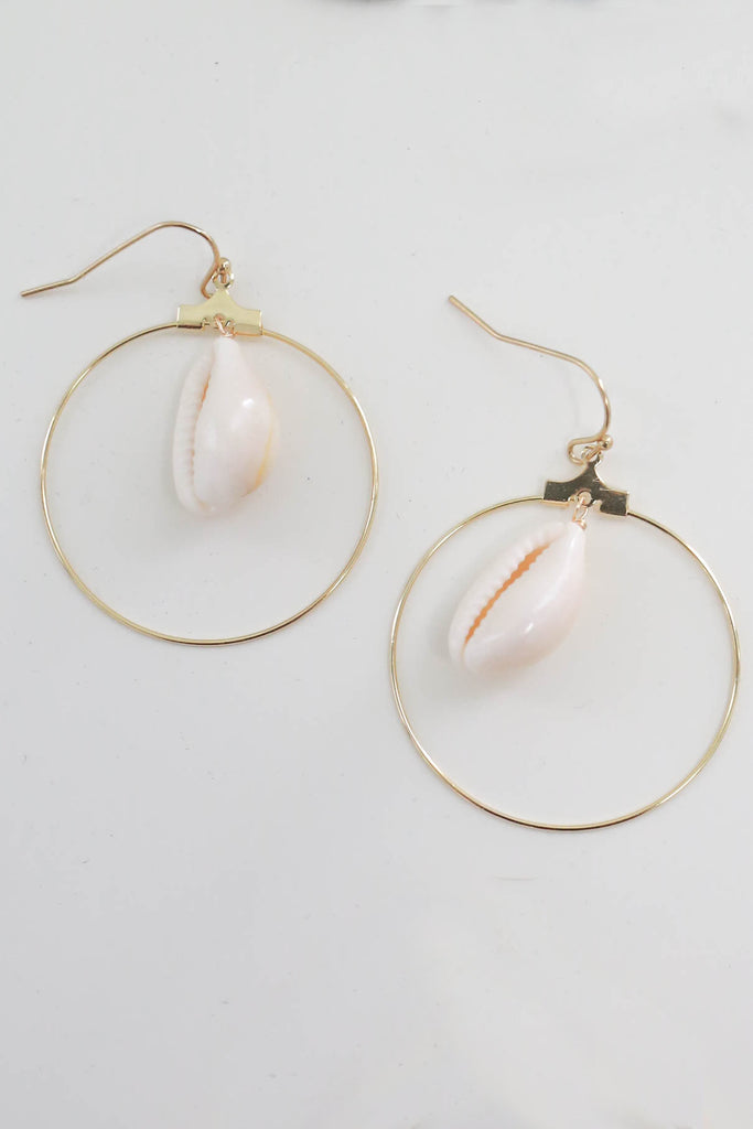 Shell Hoop Earrings - Online Clothing Boutique