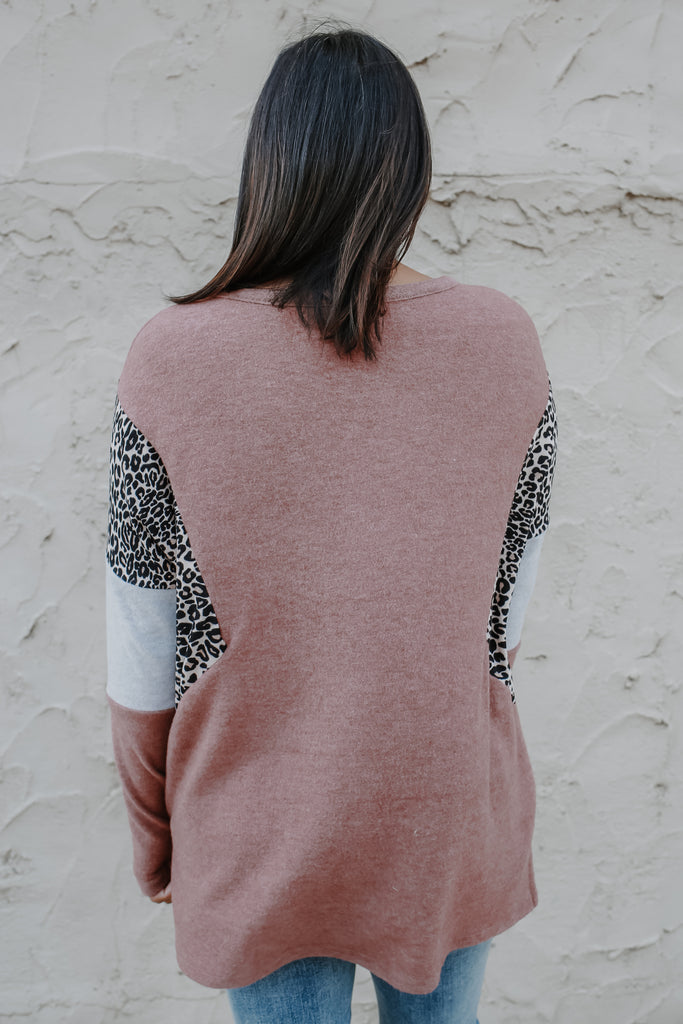 Long Sleeve Leopard Print Color Block Top | Stylish & Affordable | UOI Online