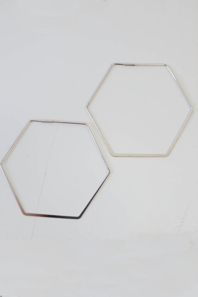 Hexagon Hoop Earrings - Online Clothing Boutique