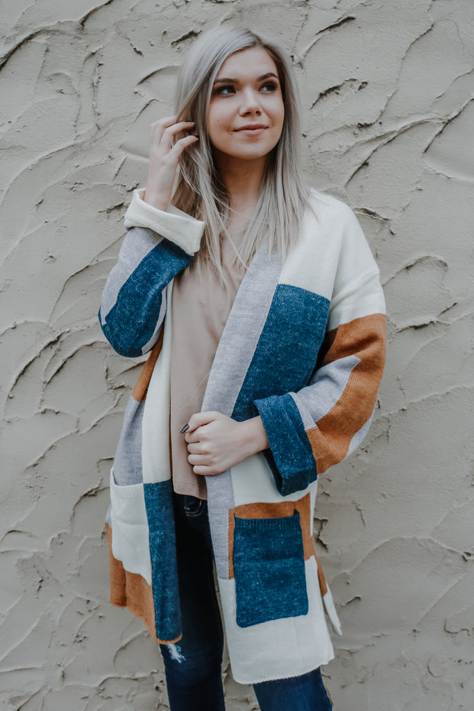 Long Sleeve Open Front Color Blocked Cardigan | Stylish & Affordable | UOI Online