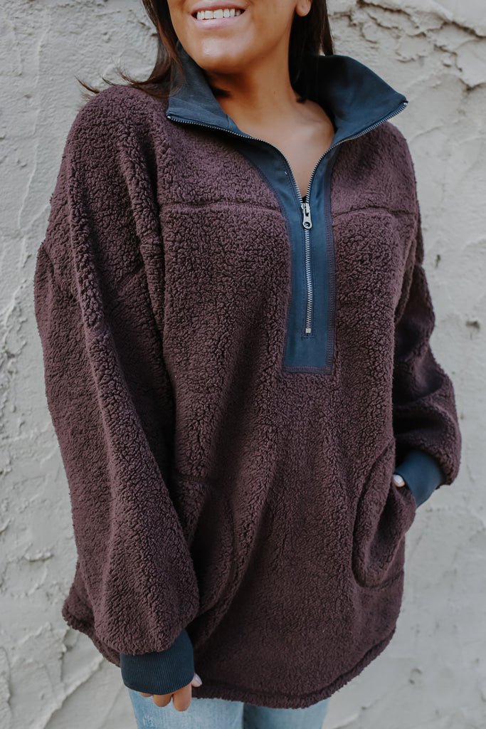 Fully Lined Mock Neck Pullover Sherpa Sweatshirt | Stylish & Affordable | UOI Online