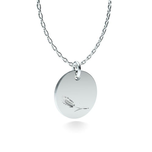 Rhodium Plated Silver Wheat Pendant with 18'' Chain