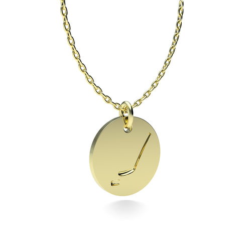Yellow Gold Plated Silver Hockey Pendant with 18'' Chain *PRE-ORDER NOW*