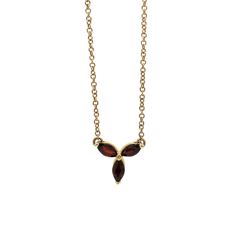 10KY Marquise-Cut Garnet Necklace