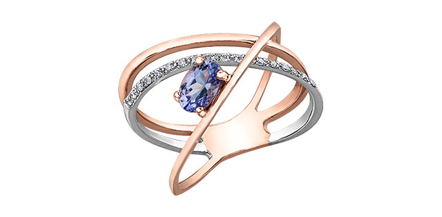 10K Rose and White Gold Tanzanite and Diamond Ring
