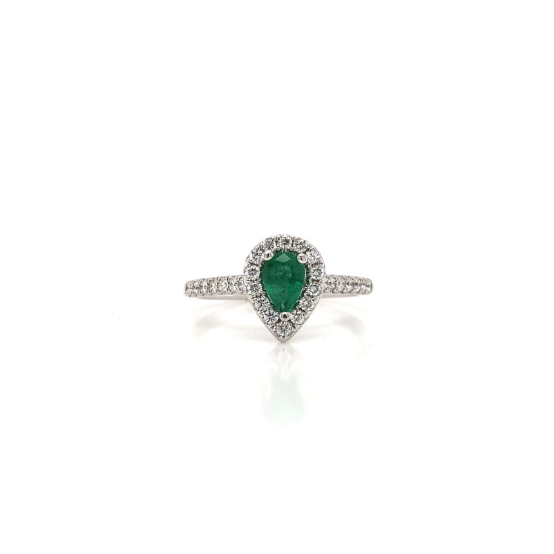 14KW Pear Emerald & Diamond Ring
