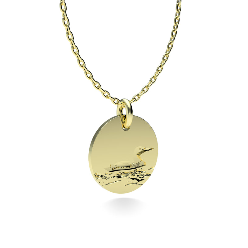 Yellow Gold Plated Silver Loon Pendant with 18'' Chain