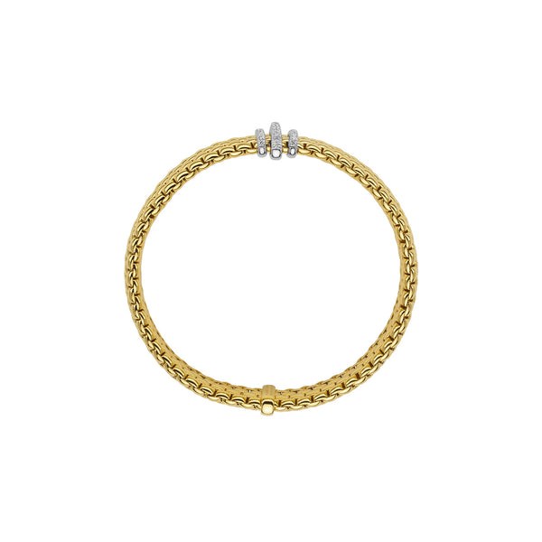 Fope Panorama Bracelet In 18KY With Diamond Rondel