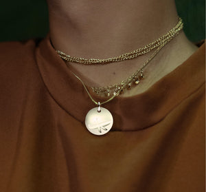 Yellow Gold Plated Silver Canoe Pendant with 18'' Chain