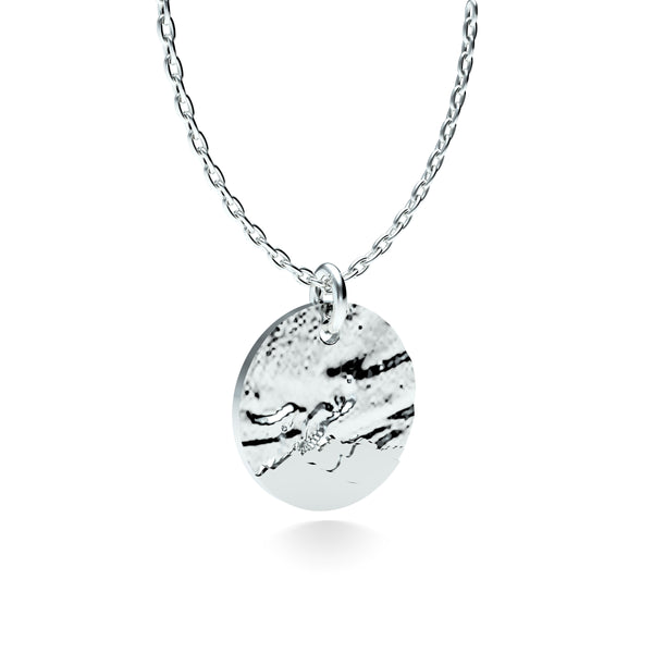 Rhodium Plated Silver Northern Lights Pendant with 18'' Chain