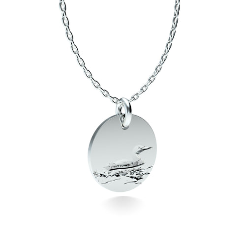 Rhodium Plated Silver Loon Pendant with 18'' Chain