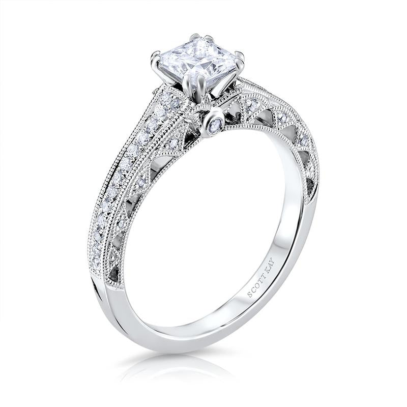 Scott Kay 19K White Gold Semi-Mount Engagement Ring To Take 6.0mm Square Diamond