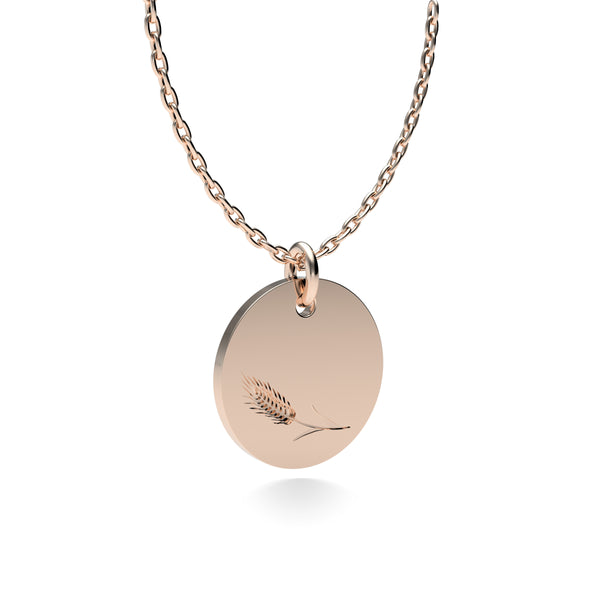 Rose Gold Plated Silver Wheat Pendant with 18'' Chain