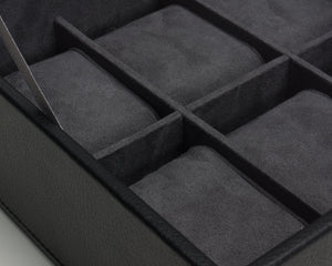 Wolf  Stackable 6 Piece Watch Tray with Lid - Black
