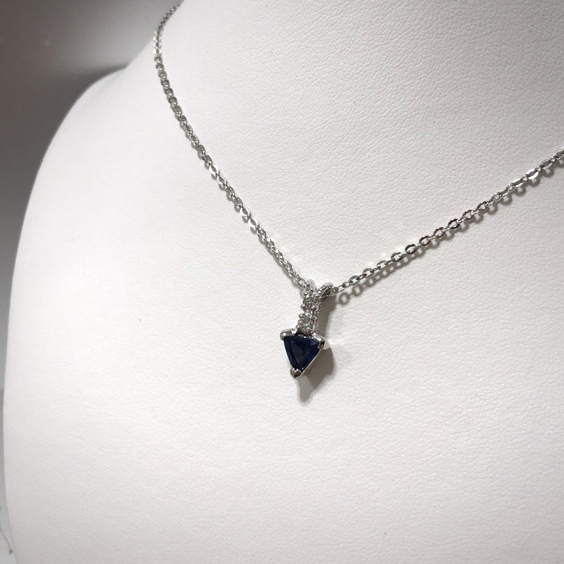 14KW Trilliant-Cut Blue Sapphire Pendant (Chain Included)