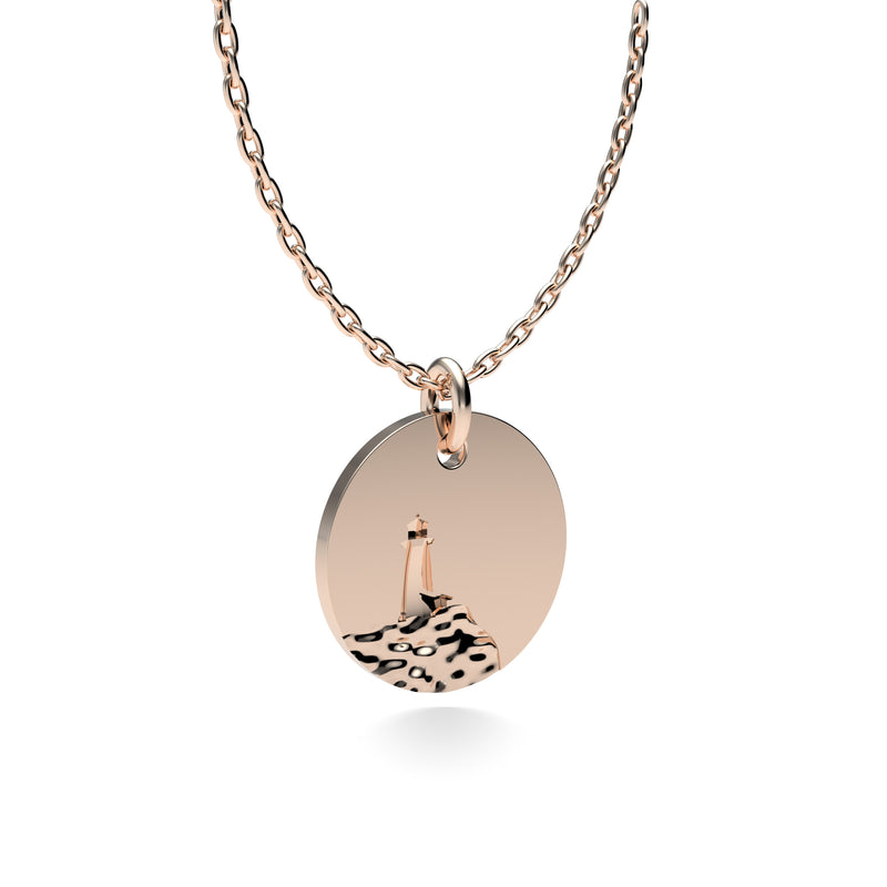 Rose Gold Plated Silver Lighthouse Pendant with 18'' Chain