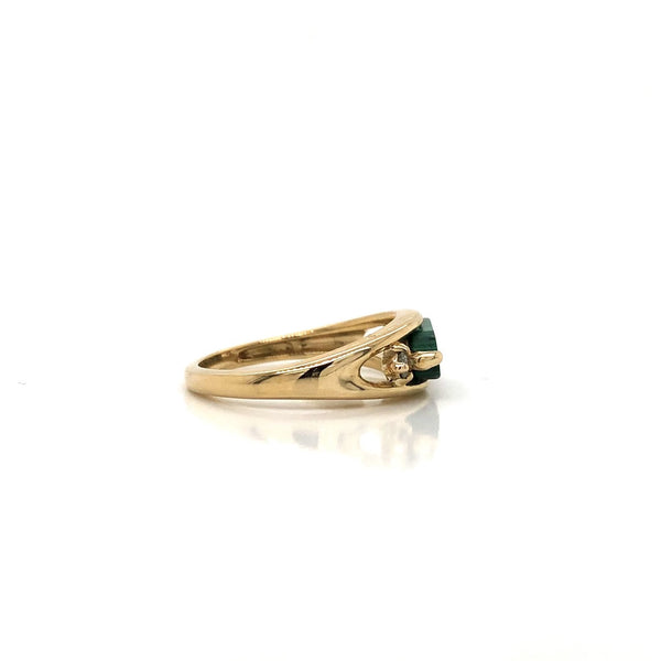 10KY Malachite & Diamond Ring